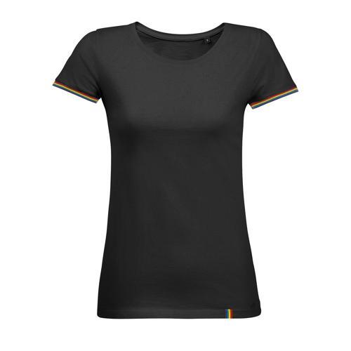 Tee-shirt femme en coton NOIR/MULTICOLOR