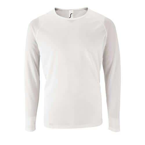 Tee-shirt manche longue de sport homme en polyester BLANC