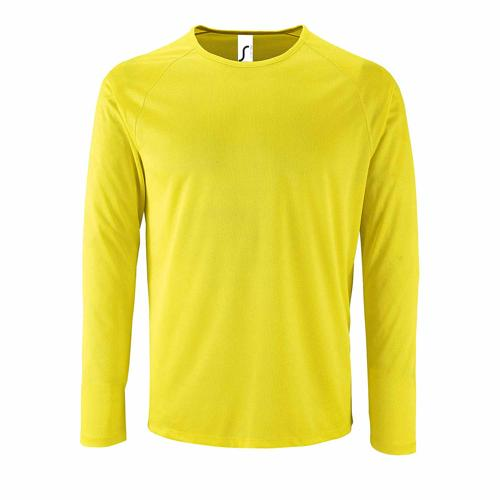 Tee-shirt manche longue de sport homme en polyester JAUNE FLUO