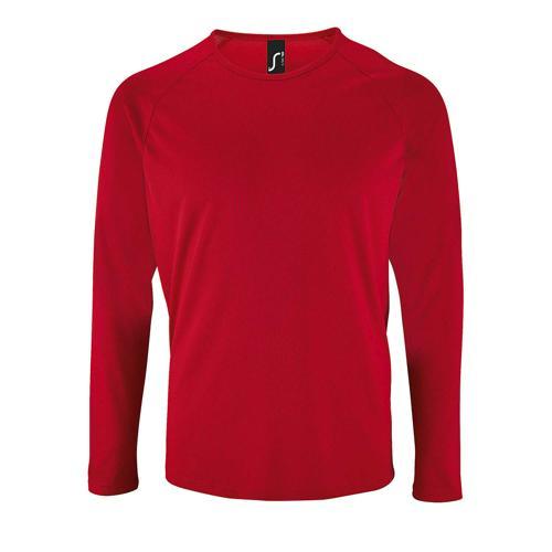 Tee-shirt personnalisable manche longue deSport homme en polyester ROUGE