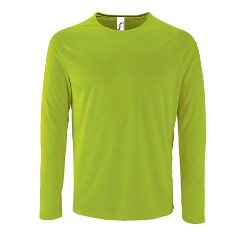 Tee-shirt manche longue de sport homme en polyester VERT FLUO
