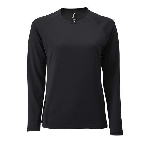 Tee-shirt manche longue de sport femme en polyester NOIR