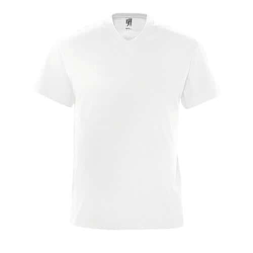 Tee-shirt personnalisable col V en coton BLANC