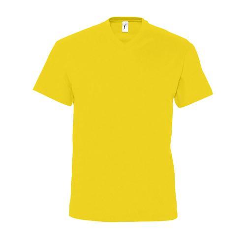 Tee-shirt personnalisable col V en coton JAUNE