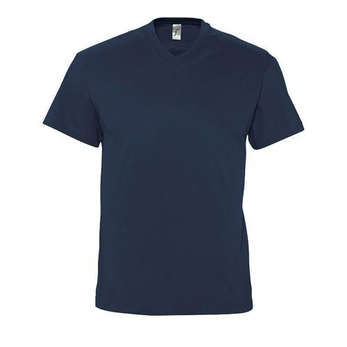 Tee-shirt col V en coton MARINE