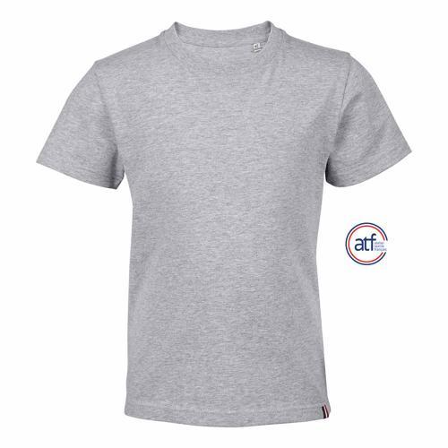 Tee-shirt personnalisable col rond enfant en coton GRIS CHINÉ