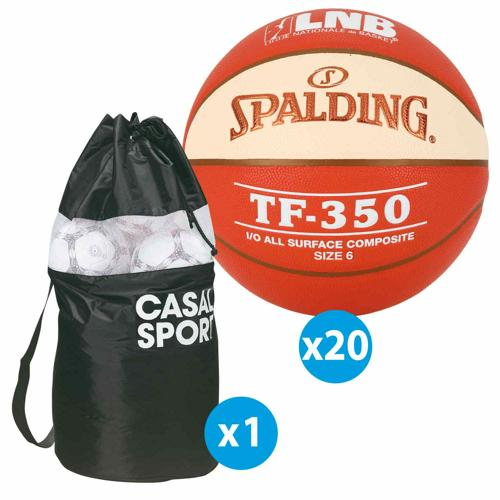 Lot 10 ballons de basket Spalding TF350 All Surface LNB + sac offert