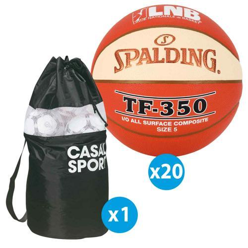 Lot 10 ballons de basket Spalding TF350 All Surface LNB + sac offert
