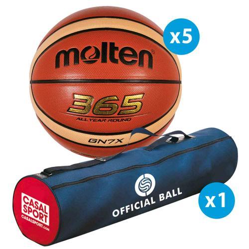 Lot de 5 ballons de basket Molten GN FFBB + sac de rangement
