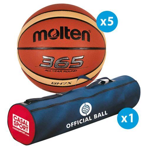 Lot de 5 ballons de basket Molten GH FFBB + sac de rangement