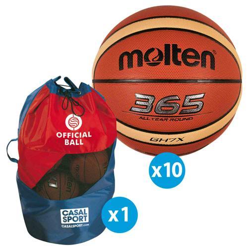 Lot 10 ballons basket - Molten - GHX FFBB FIBA