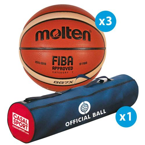 Lot de 3 ballons de basket Molten GG Official Matchball + sac de rangement