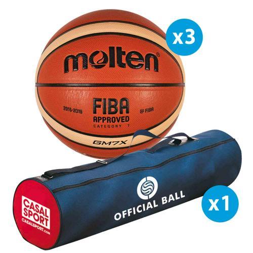 Lot de 3 ballons de basket Molten GM FFBB FIBA + sac de rangement