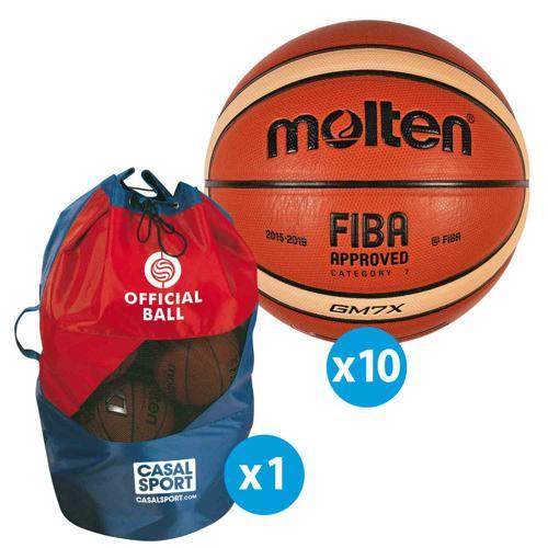 Lot de 10 ballons de basket Molten GM FFBB FIBA + sac de rangement