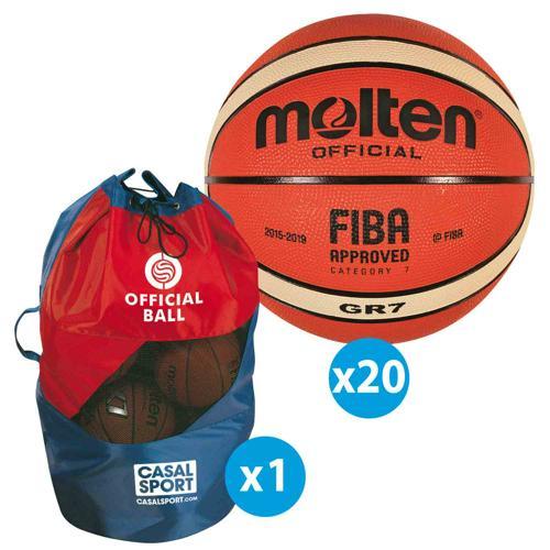 Lot de 20 ballons de basket Molten GR FFBB + sac de rangement