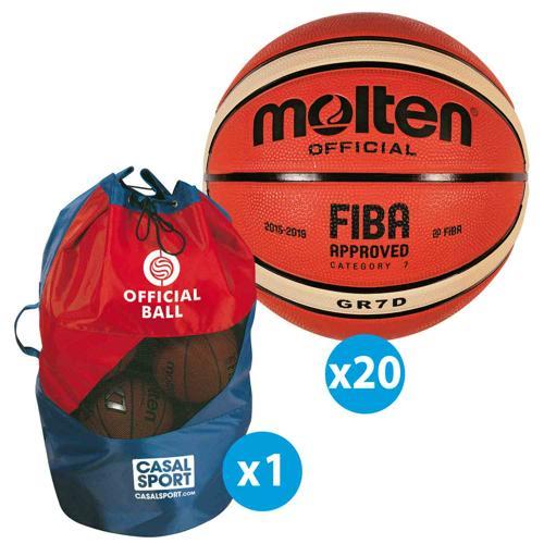 Lot de 20 ballons de basket Molten GRD FFBB + sac de rangement