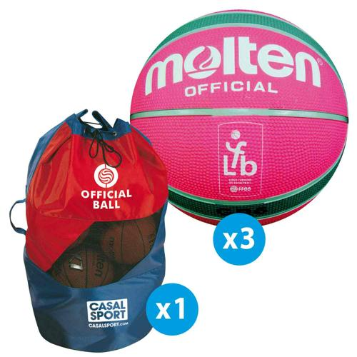 Lot de 10 ballons de basket Molten Official Replica LFB FFBB + sac de rangement