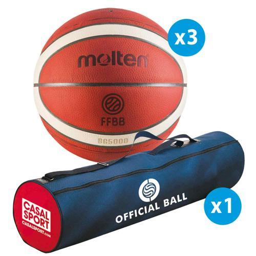 Lot de 3 ballons de basket Molten BG5000 T.7 Official Matchball + sac de rangement