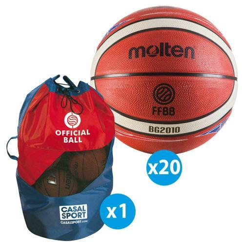 Lot de 20 ballons de basket T. 6 Molten BG2000 FFBB + sac de rangement