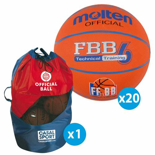 Lot de 20 ballons de basket T.6 Molten FFBB TRAINING + sac de rangement