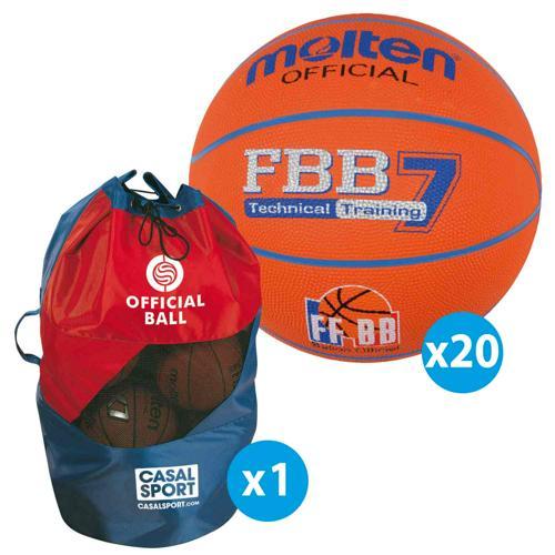 Lot 20 ballons basket - Molten - FBB FIBA taille 7