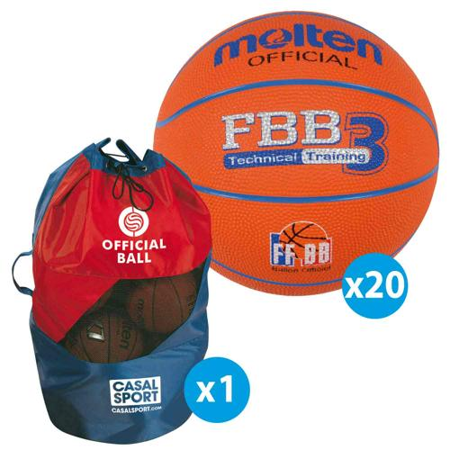 Lot de 20 ballons de basket T.3 Molten FFBB TRAINING + sac de rangement