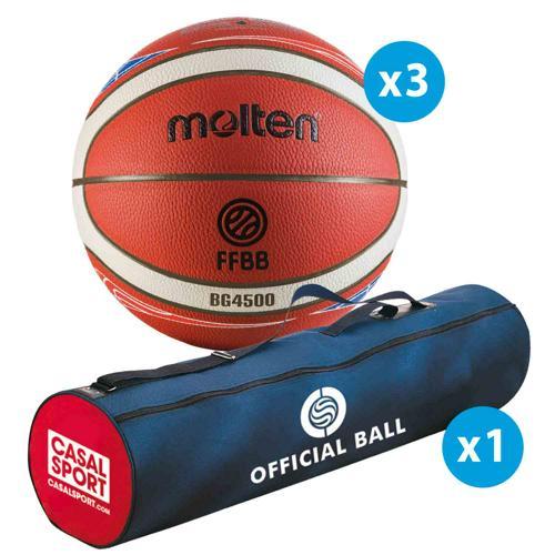 Lot de 3 ballons de basket Molten BG4500 FFBB - FIBA T.6 + sac de rangement