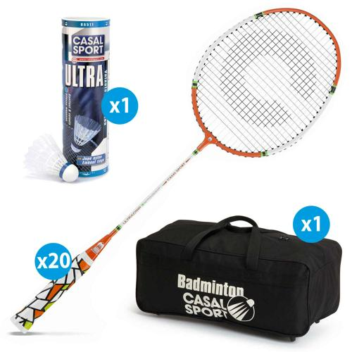 Lot 20 raquettes Casal Sport ultra grip 3 + 1 sac + 6 volants