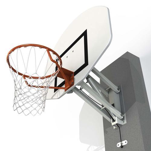 But de basket mural réglable à hauteur réglable de 2, 60m ou 3, 05m par système à gaz /