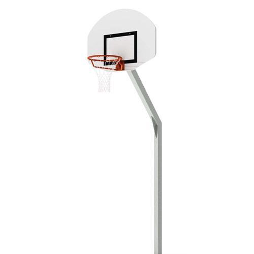 But de basket d'entrainement plastifié en aluminium gris, deport de 1, 2m et hauteur de 2, 60m, panneau PES 1/2 avec lun