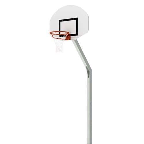 But de basket d'entrainement plastifié en aluminium gris, deport de 0, 60m et hauteur de 3, 05m, panneau PES 1/2 lune 11