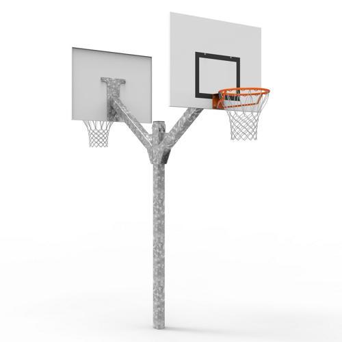 But de basket double têtes, galvanisé à chaud à hauteur de 2, 60m, à sceller / l'unité