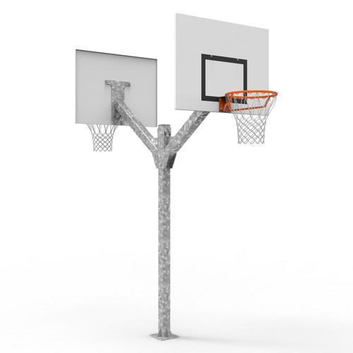 But de basket double têtes, galvanisé à chaud à hauteur de 2, 60m, sur platine / l'unité