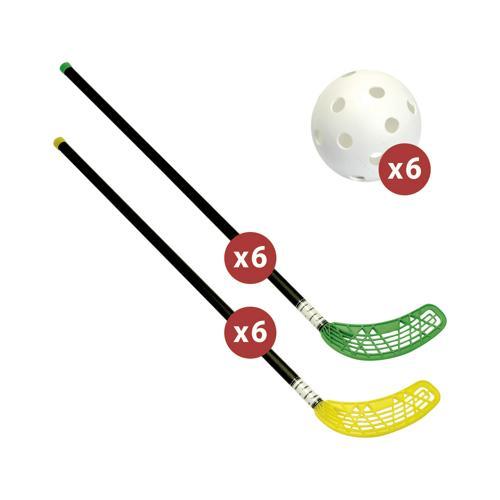 Matériel de unihockey Fiber Unihoc + lot de 12 crosses et 6 balles