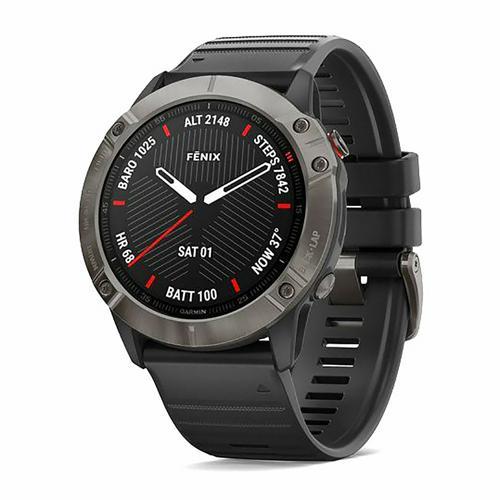 Montre - Garmin - Fenix 6x Sapphire carbon grey DLC avec bracelet noir