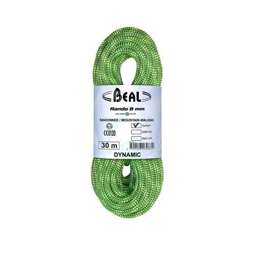 Corde Randonnée Beal Rando diamètre 8mm et de longueur 20m Vert
