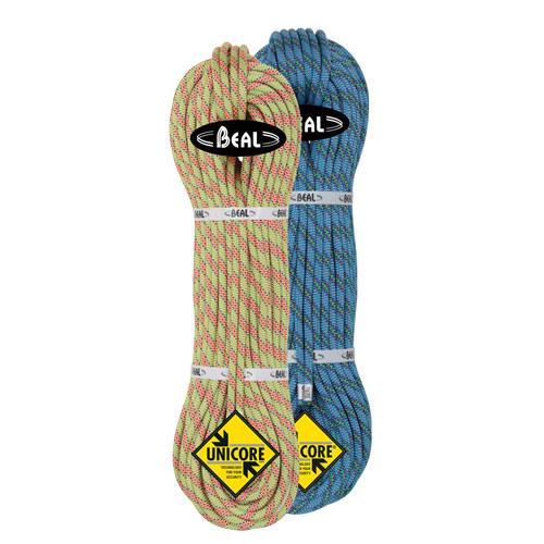 Corde alpinisme Beal Cobra II diamètre 8,6mm et de longueur 2x60m Anis-Bleu