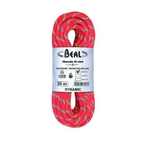 Corde de randonnée Beal Rando diamètre 8 mm, longueur 20m Rose