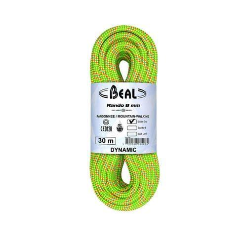 Corde de randonnée Beal Rando diamètre 8 mm, longueur 20m Jaune