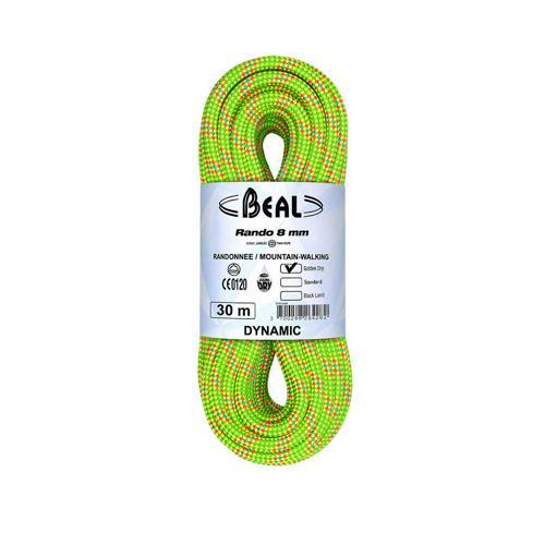 Corde de randonnée Beal Rando diamètre 8 mm, longueur 30m Jaune