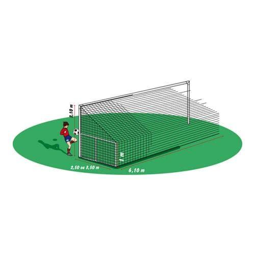 Paire de filets de buts foot à 8 - spécial but rabattable déport 3,5m.