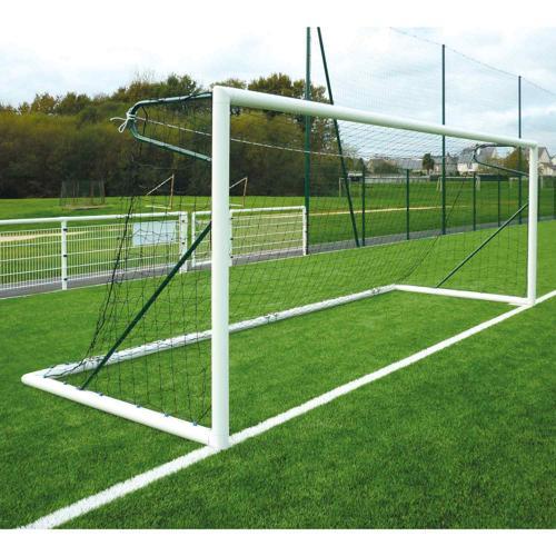 Paire de buts de foot à 11 Métaluplast - transportables en alu tubes ovoïdes