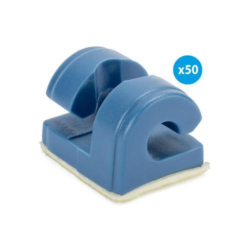 Sachet de 50 crochets bleus pour filets de buts en acier, à visser, avec adhésif + vis autotaraudeuse