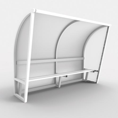 Abri de touche monobloc V2, longueur de 3,50m (2, 50 + 1m), structure en aluminium 50x50x3, plastifiée blanc / l'unité