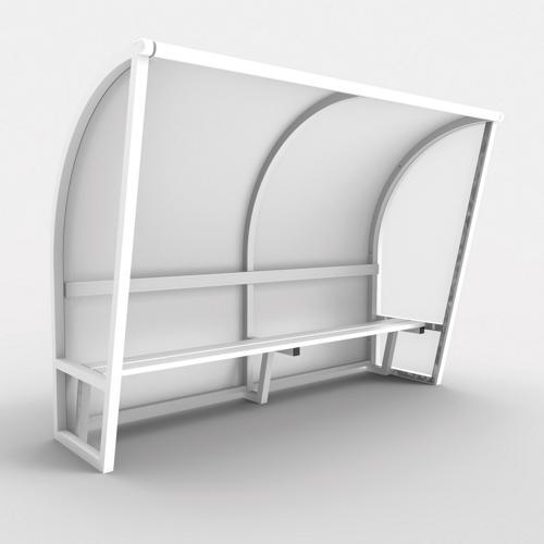 Abri de touche monobloc V2, longueur de 4,50m (2, 50 + 2x1, 00m), structure en aluminium 50x50x3, plastifiée blanc / l'u