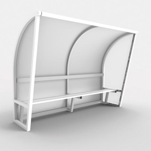 Abri de touche monobloc V2, longueur de 6,50m (1, 50 + 2x2, 50m), structure en aluminium 50x50x3, plastifiée blanc / l'u