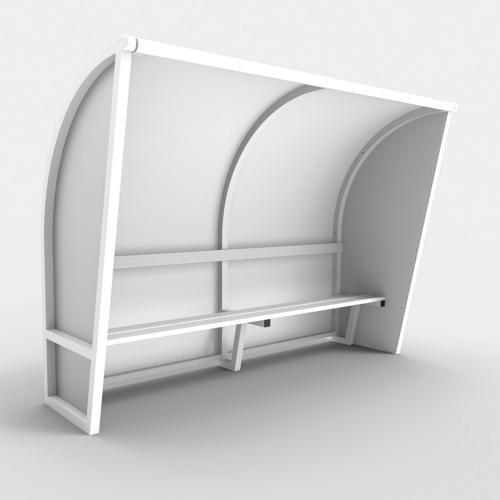 Abri de touche monobloc V2, longueur de 2,00m (2 x 1, 00m), structure en aluminium 50x50x3, plastifiée blanc / l'unité