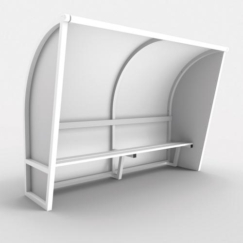 Abri de touche monobloc V2, longueur de 4,50m (2, 50 + 2 x 1, 00m), structure en aluminium 50x50x3, plastifiée blanc / l
