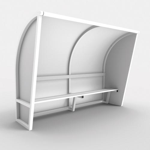 Abri de touche monobloc V2, longueur de 6,50m (1, 50 + 2x 50 + 2x2, 50m), structure en aluminium 50x50x3, plastifiée bla