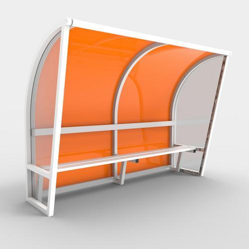 Abri de touche monobloc V2, longueur de 4,50m (2, 50 + 2x 1, 00m) couleur, structure en aluminium 50x50x3, plastifiée co